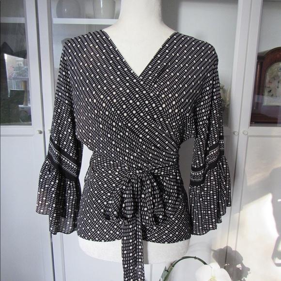 Max Studio Tops - Gorgeous MAX STUDIO Black & White Wrap Blouse